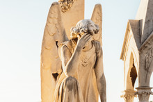 Statue Of Angel With Wings Against Light Sky At Cemetery. Closing Stoned Angel Praying In An Old Cemetery. Graveyard Old Crying Angel Sculpture On Funeral. Death, Loss, Condolence Concept. Empty Space