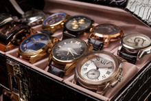 Storage Box With Collection Of Men Wrist Watches