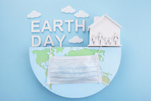 Earth Day In Modern Style. Quarantine. Save Earth Planet World Concept.