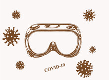 Coronavirus Vintage Cover, Protective Glasses With Virus Molecules ,sepia Background, Vector Illustration