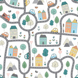 Vector pattern with funny city map for kids