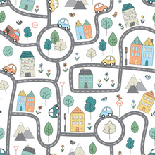 Vector Pattern With Funny City...