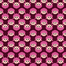 Pink Sheep Pattern, Illustration, Vector On White Background