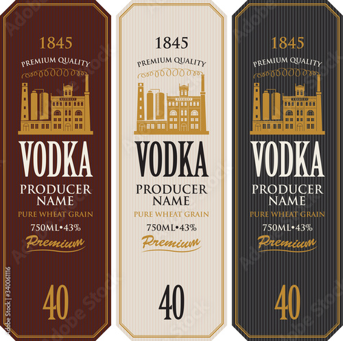 Valokuva Set of vodka labels with the image of distillery building