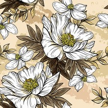 Seamless Floral Pattern On A White Background. Design For Wallpaper, Fabric, Wrapping Paper, Cover And More. Vector Illustration.