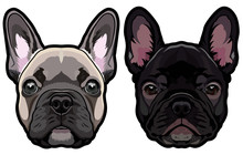 Vector Set Of French Bulldog's Heads Illustration