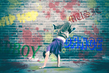 Hip Hop Dancer Doing Handstand