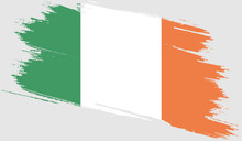 Ireland, Flag With Grunge Text...