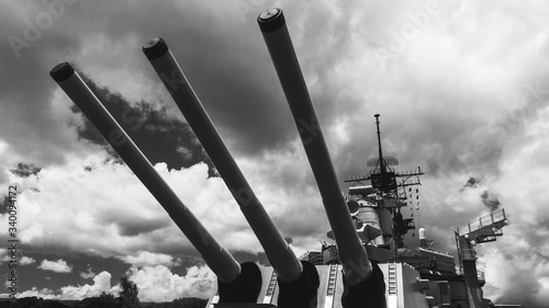 Canvas Low Angle View Of Battleship Against Cloudy Sky
