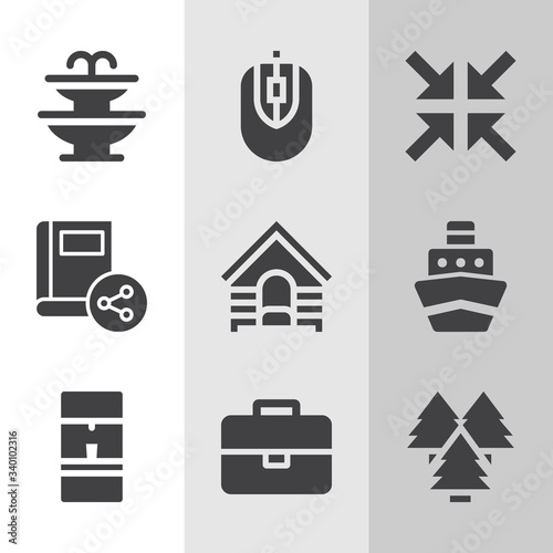 Simple collection of recreation related filled icons. Wall mural