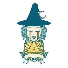Crying Human Witch With Natural One Roll Illustration