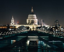 Paul's Cathedral Seen From London At Night Surrounded By City Lights