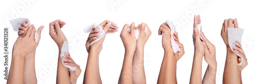 Tela Set of People hand holding Baby wet wipes To clean hands isolated on white background