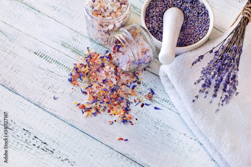 Top view picture of lavender seeds in the mortar with pestle Canvas Print