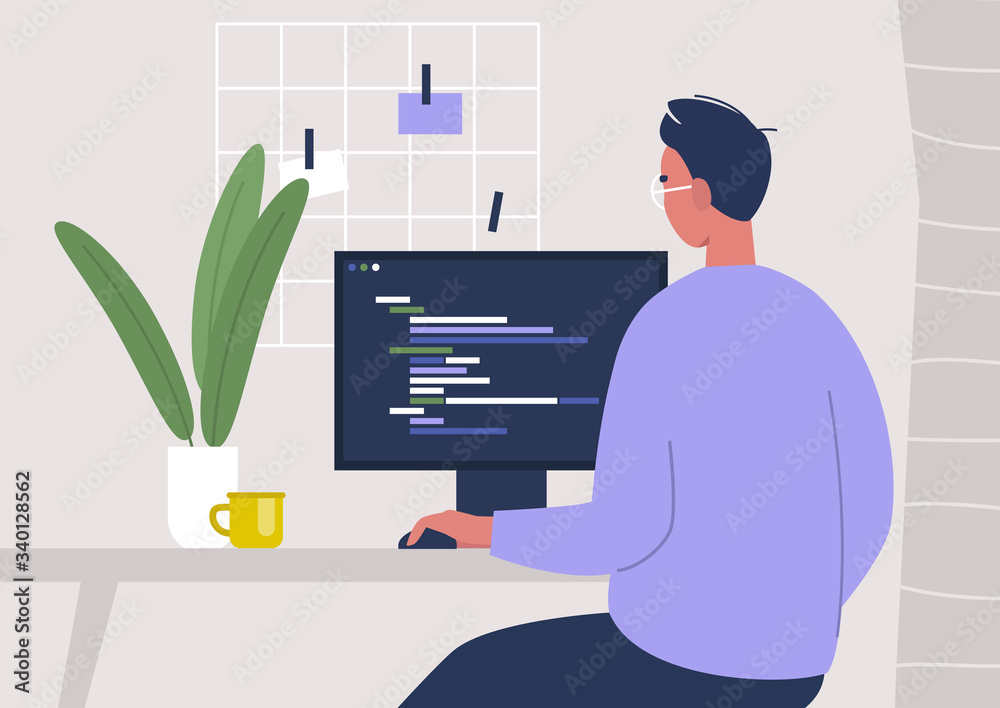 Fototapeta Young male character writing code on a desktop computer, working from home, millennials at work