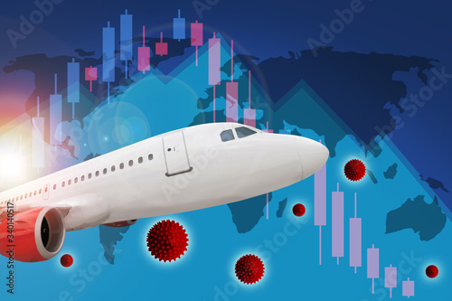 Photo Covid-19 Coronavirus Pandemic Impact on Airline and Travel Industry