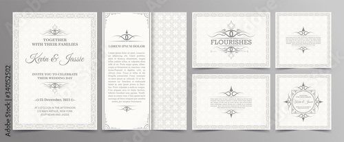 Obraz Vintage style vector design invitation card with a white background - fototapety do salonu