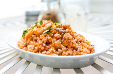 Shrimp Risotto On Plate