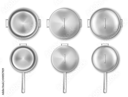 Metal cooking pot and frying pan top view Fototapete