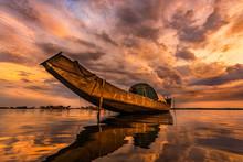 Boat On Quang Loi Lagoon In Tam Giang Lagoon, Near Hue City, Vietnam