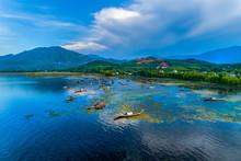 Aerial View Of Boats On Cau Hai Lagoon In Tam Giang Lagoon, Hue, Vietnam.