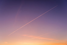 Contrails Seen During Sunset O...