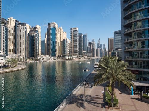 DUBAI, UAE - February 2020: Modern buildings in Dubai Marina, Dubai, UAE Canvas Print
