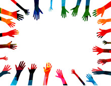 Colorful Human Hands Raised Is...