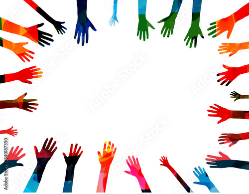Colorful human hands raised isolated vector illustration Canvas Print
