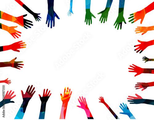 Obraz na plátně Colorful human hands raised isolated vector illustration