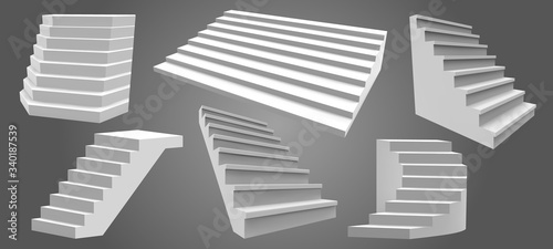 Exterior realistic stairs. Architectural home staircase, modern stairway. Ladders, architectural staircases isolated vector illustration set. Stair interior exterior, staircase architecture for home