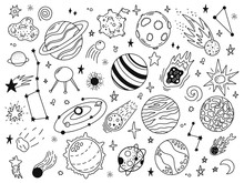 Space Doodles. Sketch Space Planets, Hand Drawn Celestial Bodies, Earth, Sun And Moon. Universe Space Planets Vector Illustration Icons Set. Celestial Doodle, Moon And Sun Drawing, Universe Cosmic