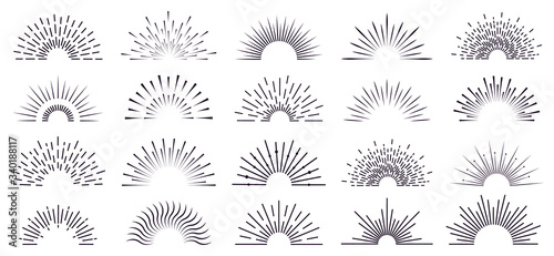 Obraz Vintage sunburst. Retro radiant sunburst, starburst hand drawn label, sun rays, firework radiant rays. Bursting explosion lines vector isolated icon set. Sunshine radial, starburst linear illustration - fototapety do salonu