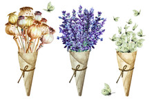 Bouquet Of Poppy Capsules, Lavender Flowers And Flock White Butterflies In Cone Of Paper. Isolated, Hand Drawn Watercolor.