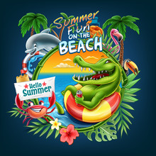 Summer Welcome To The Beach With Animals