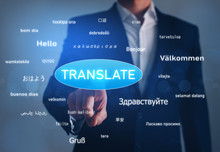 Online Translator, Business And Technology Concept. Hand Tapping Button Translate Over Greeting Words In Different Foreign Languages.