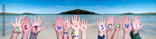 Children Hands Building Colorful English Word Get Well Soon Fototapet