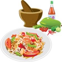 Vector Of Green Papaya Salad (...