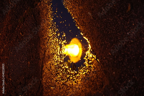Reflection Of Illuminated Street Light On Puddle Wallpaper Mural