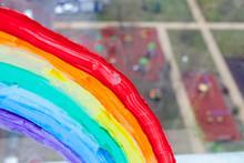 Painting Rainbow On Background...