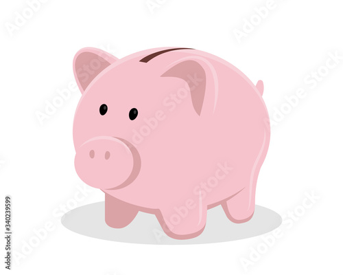 Pig piggy bank vector illustration isolated on white background, flat design Fotobehang