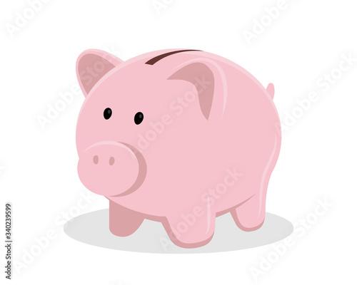 Foto Pig piggy bank vector illustration isolated on white background, flat design