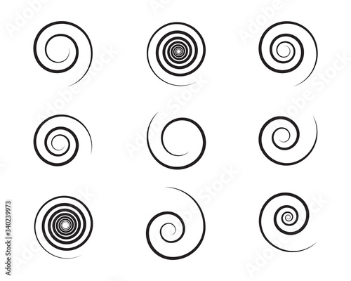 Obraz Spiral and swirl motion twisting circles design element set. Vector illustration - fototapety do salonu