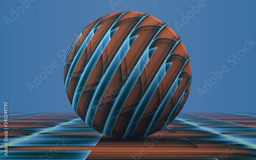 Photo rendu 3D d'une sphère posée sur un plan se confondant avec le lointain et faisan