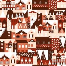 House Seamless Pattern. Scandi...