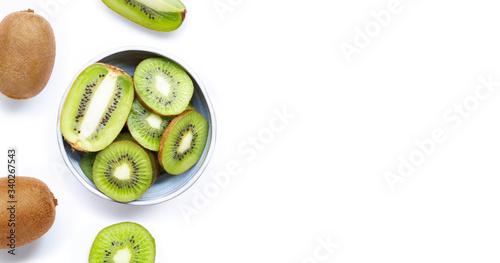 Photo Kiwi fruit with a slice isolated on white.