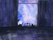 Watercolor Painting. Work Fome Home With Cat Under Moon Light.