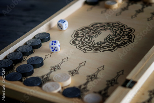 Obraz na plátně Wooden board of backgammon table game