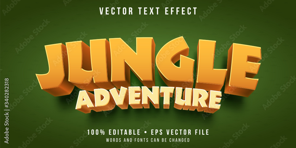 Fototapeta Editable text effect - jungle game style