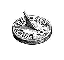 Ink Sketch Of Sundial.